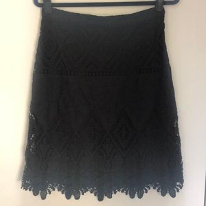 Anthropologie black lace pencil skirt S8